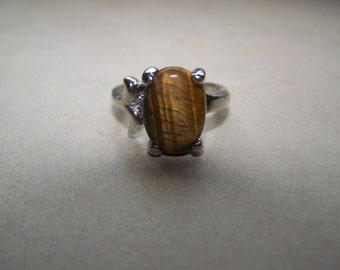 Silver Tigers Eye Brown Stone Ring choose size