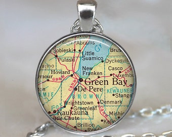 Green Bay Wisconsin necklace, Green Bay pendant Green Bay necklace De Pere map jewelry map necklace map key chain key fob