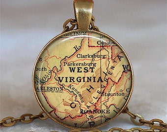West Virginia map necklace, West Virginia map pendant, state map necklace, Allegheny Mountains, map key chain, map key fob