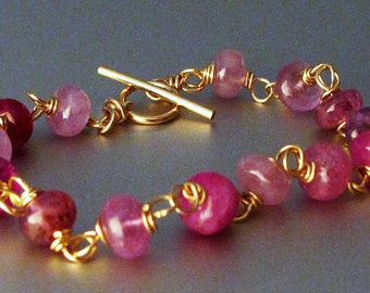 14k Gold Pink Sapphire Bracelet - The Perfect Valentine's Day Present - Available in 14k White or Yellow Gold
