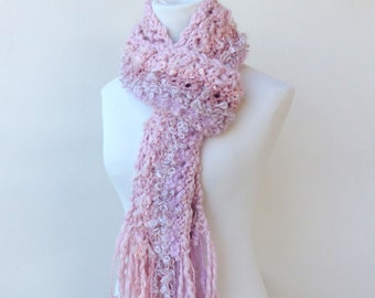 RESERVED  for  Donna Mazzenga   Pink knit scarf Chunky Dusty Pink scarf Unique hand knitted scarves Rose scarf Pink Scarf