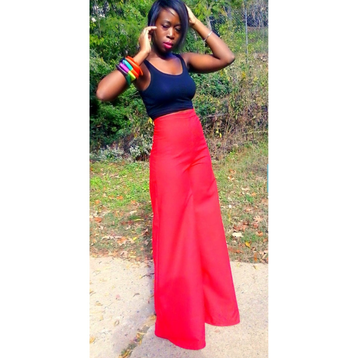 Red High Waist Wide Leg Pants by NigerianHippie on Etsy