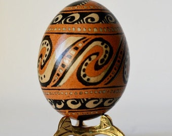 Trypillian  Pysanka egg Ukrainian Easter egg, hand painted chicken egg shell