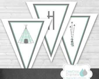 TeePee Baby Shower Banner INSTANT DOWNLOAD Matching Digital DIY printable Arrow Tribal Boho