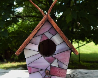 Mini Stained Glass Mosaic Decorative Birdhouse Pink