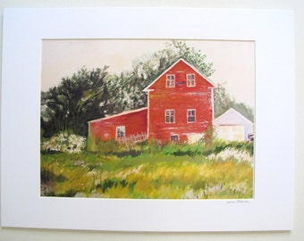 """Print of Oil Painting """"Boothbay Barn """" Maine , Ready to Frame With 11x 14 inch Mat Included"""