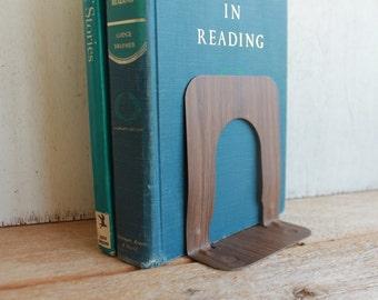 Vintage Industrial Metal Book End // Schoolhouse Book End // Vintage Office // Faux Bois