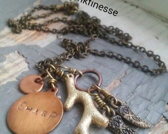 TIMBERS - organic gypsy nomad metalwork branch, stamped metalwork tag, tribal horn charms, sealed link necklace