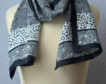 Long Vintage Scarf: Black, White, Dots, Flowers, Silhouettes, Organic
