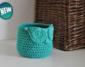 Small Jade Owl Basket Crocheted Bin Yarn Holder Woodland Nursery Decor Home Organizer Custom Colors