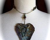 OOAK Boho Chic Choker Necklace, Metal Heart with Bird, Repurposed Rustic Metal