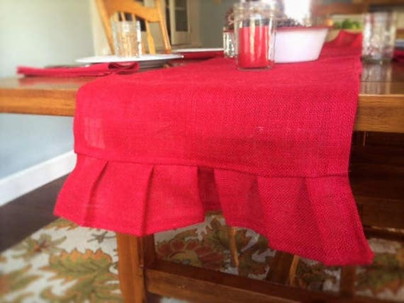 Red burlap table runner pleated 14 x 60 inches best used for 12 ft table runner