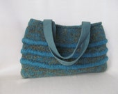 Wool Purse, Knitted, Fulled,  Ladies Blue Green Handbag