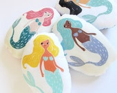 Customizable Mermaid Shaped PIllow Plushie. Choose any hair, skin, and fin color. Hand woodblock printed from scratch. Made to order.