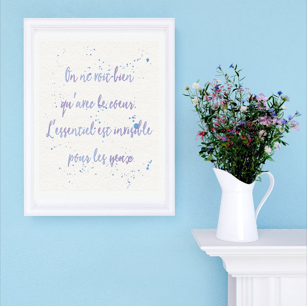 Le Petit Prince Quote Art Print - The Little Prince Watercolor Typography Text Art - White and Lavender | French Literature Gift For Her
