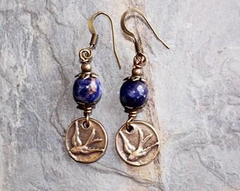 Bird Earrings, Sodalite Earrings, Blue Earrings, Natural Stone Earrings, Gemstone Earrings, Bronze Earrings, Spring Earrings, Handmade