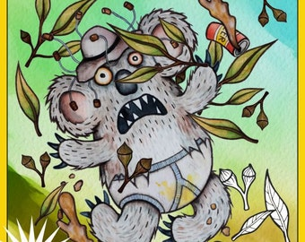 """Printable """"Lowbrow Aussie Colouring E-Book for Adults and Brave Kids"""" by Rachel Weaver. Drop Bears, Sharks, Beer & other Weird Stuff"""