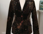 Vintage Velveteen Blazer, 1970s Form Fitting, Faux Patchwork Birds Floral Abstract Print XS, Small