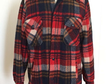 Vintage 1970s Men's Hunting Jacket Shirt Red Plaid Wool Faux Fur & Quilted Lining by Saks Fifth Avenue The Vantage Point Small Slim, Pockets