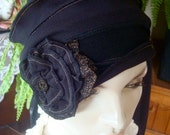 Womens chemo hat chemo Slouchy Hat chemo Evening Hat Chemo Black and Gold Flapper