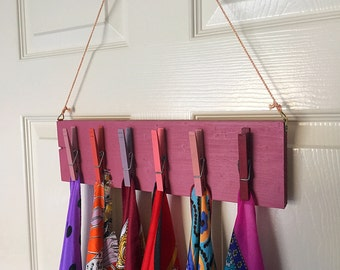 Scarf organizer - Wooden clothespins in pink - repurposed from scrap wood