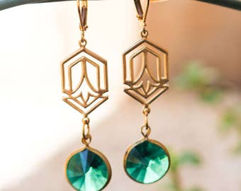 L.A. Raised-Florence-Deco Green-Earrings