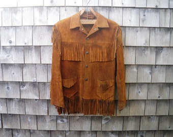 """Mens Festival Suede Fringe Jacket - 1970s - Rust Brown - Chest 36"""" or Less"""