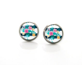 Bright summer stripes and flowers tropic modern print Titanium Post Earrings | Hypoallergenic Earring Stud | Sensitive jewelry post studs