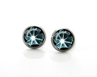 Aqua green art Flower Titanium Post Earrings | Hypoallergenic Earring Stud | Titanium Earring Stud |