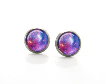 Pure Titanium Jewelry Earrings for sensitive ears Cosmos Nebula Studs Space | Hypoallergenic Titanium Earring Stud | Titanium jewelry posts