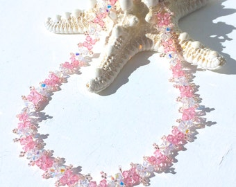 Flowering Pink and Shimmering AB Clear Swarovski Crystal Beaded Choker Necklace with Sterling Silver Toggle Clasp
