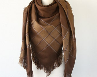 Wool Blanket Scarf Winter wrap Fringe shawl Plaid shawl Winter accessories Autumn fall fashion Brown scarf Holiday Christmas gift