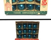 Vintage Poland Ornaments, Retro Blue Ornaments Glass Ornaments Boxed Ornaments Vintage Christmas Ornaments Set of 12 Fantasia Brand Ornament