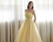 50s Tulle Dress - Vintage 1950s Prom Dress - Honeysuckle Prom Dress