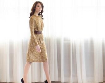 1960s Silk Dress - Vintage 60s Dress - Gold Leaf Dress