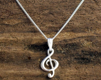 Treble Clef Necklace, Treble clef pendant, Silver, Music note pendant ,G- clef jewelry,  Music Jewellery, Music Gifts, Gift for musician.