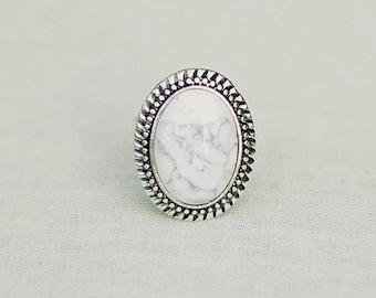 Handmade White Ring White Howlite Ring White Gemstone Ring White Stone Ring Adjustable White Ring White Silver Ring