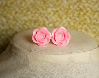 Handmade Pink Rose Earrings Pink Resin Flower Post Earrings Bright Pink Flower Earrings Pink Bridesmaids Pink Wedding