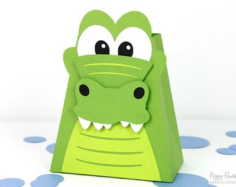 Alligator Favor Box : Handcrafted Crocodile Party Favor | Gator Gift Box | Reptile Favor | Peter Pan Party Favor | Made to Order