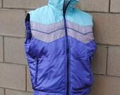 Vintage 1980's Jordache Lavender and Teal Puffer Vest