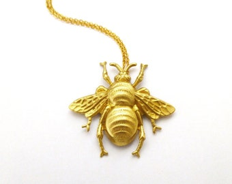 Bee Charm Necklace Gold Bumblebee Pendant Nature Insect Statement Garden Bridesmaids Rustic Woodland Weddings Womens Gift For Her Spring
