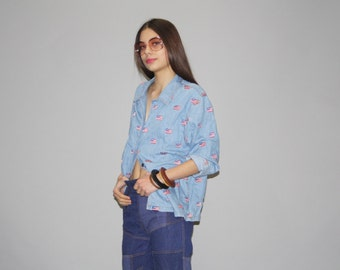 Vintage 1980s American Flag Embroidered Denim Jean Button Up Shirt   -  Vintage Denim Top  -  WT0454