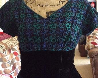 Vintage 1950s 1960s Dress Blue Green Black With Black Velvet & Peplum