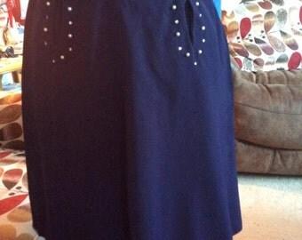 Vintage 1940s 1950s Skirt Blue Rhinestones Faux Pearls