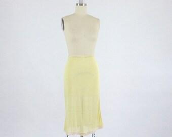 Vintage Yellow Slip / Rayon Slip Half Slip / 1940s Slip 40s Slip / Rayon Lingerie / Deadstock Lingerie / Sheer Slip / Yellow Slip