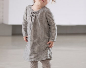 Girls Clothing Toddler girls Linen dress Natural tan with Toddler girl outfit First birthday dress Girls clothes