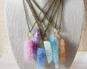 Pastel Crackle Quartz Brass Chain Layering Necklace/ Mixed Metal Brass Chain Gemstone/ Natural Layering Necklace Stone Quartz (NMG19)