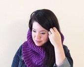 Christmas in July Sale!! - Custom 100% wool chunky oversized thick knit cowl scarf - classic fit - violet