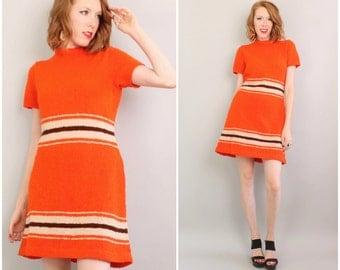 1960's Knit Dress / 60's Mini Sweater Dress / Orange Shift / Large
