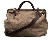 Harry drab olive waxed canvas bag with detachable leather strap